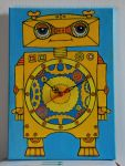 SLEEPY ROBOT wall clock by polpolina