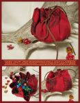 Red Kiwi Feather Pouch for Dice, Runes, Coins etc. by ImogenSmid