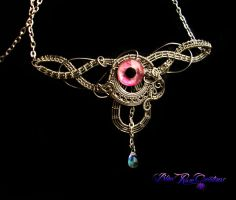 Circlet or Necklace - Pink Pewter Eye Teardrop by LadyPirotessa