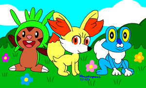 Pokemon Gen 6 Starters by MarioSimpson1