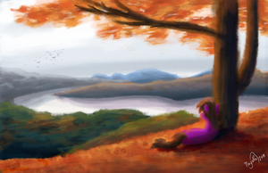 Chubs looking at a bunch of mountains like a loser by Nayolfa