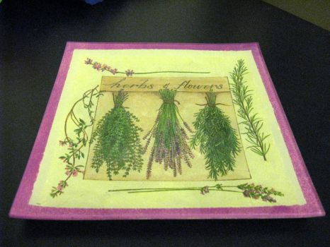 Decoupage plate - herbs by CinnamonBlue