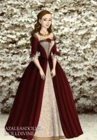 Belle's red Christmas gown by LadyAquanine73551