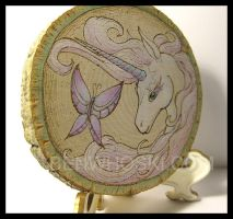 Unicorn and Butterfly Small Decorative Plaque by benwhoski