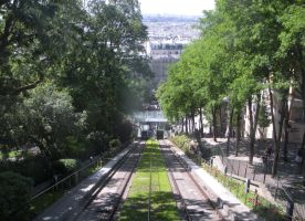 Montmartre Funicular - Looking Downhill View by rlkitterman