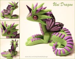 Polymer Clay Unicorn Dragon Green and Lilac by ShaidySkyDesign