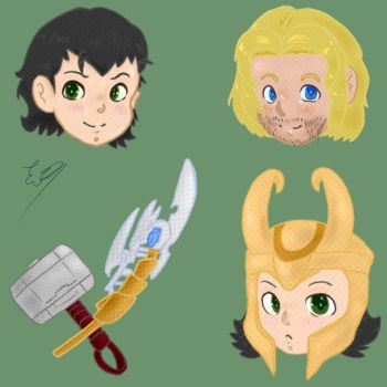 Loki/Thor Stickers by tabata188