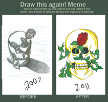 Before and After Meme: Skull by bueatiful-failure