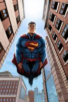 Superman flying by logicfun