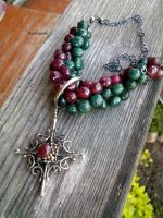 Necklaces ruby and emerald with cross by honeypunk