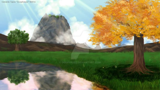 Lake and Yellow Tree by Duophased