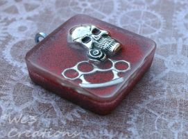 Skull with Rose and Steel Knuckles Pendant by kelleejm1