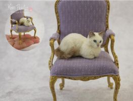 Miniature Ragdoll Cat Sculpture by Pajutee