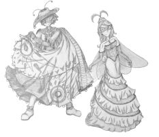 Masquerade Moth and Butterfly by bornahorse