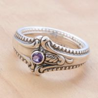 Spoon Ring w Wee Amethyst by metalsmitten