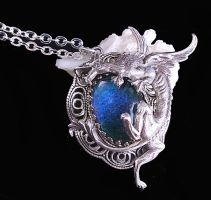 Gothic Dragon Mood Stone Necklace by byrdldy