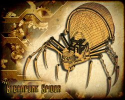 Steampunk Spider Wireframe Preview by Abasyyx