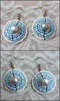 Blue + white, glass and freshwater pearl earrings by EverAfterArtisanry