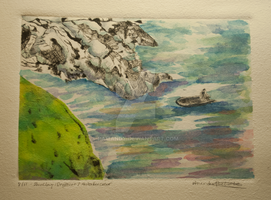 Sailing to Shore - chinecolle and watercolor by Pamandy