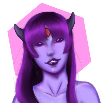 Cute Purple Demon Girl - finished by justthebutts