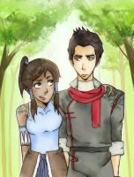LoK - Korra and Mako by belistift