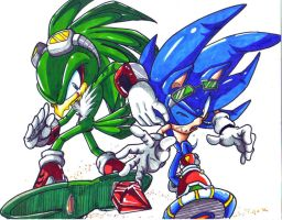 jet and sonic colored by trunks24