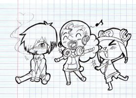 One piece chibi trio by Chipupull