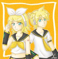 Kagamine twins by Bluellu