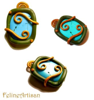 Nooby Turquoise Pendant by FelineArtisan