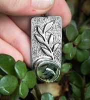 Triumph of Life silver pendant with green prehnite by YANKA-arts-n-crafts