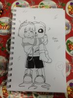 Quantumtale :SKETCH: TK and Frisk~ by perfectshadow06