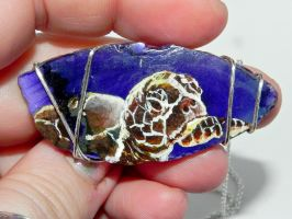 Life's Journey, Hand Painted Sea Turtle Necklace by Secretvixen