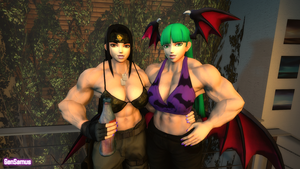 Muscle Girls: Connie and Morrigan by GenSamus