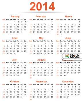 2014 Calendar Template Vector Free by Stockgraphicdesigns