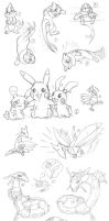 Pokemon Sketch Doodles by akelataka