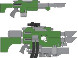 Lasgun and Custom Hellgun by tallguy