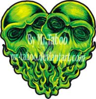 Green skull Heart by Mr-Taboo