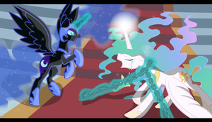 Nightmare Moon vs Celestia by Sotoco