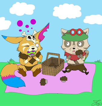 Teemo and Gnar SHROOMS!  by zawolfz
