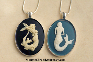 Mermaid Cameo Necklaces by MonsterBrandCrafts