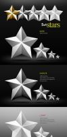 5 Coned Metalic Stars by GoldenBugSpread