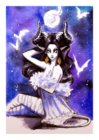 Night Gown Demoness - Watercolor by Sabtastic