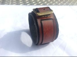 Steampunk-style Brown Leather Wristband by Altitude-Artisan