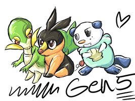 Isshu Starter Pokemon- GEN5- by Moonblizzard