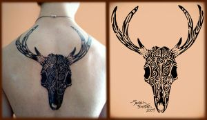 Tribal Deer Skull Tattoo by NaturePunk