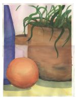 still life with copper planter by celacia