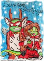 TMNT: Season Greetings from Raph and Mona by XxMoonlight-1-WishxX