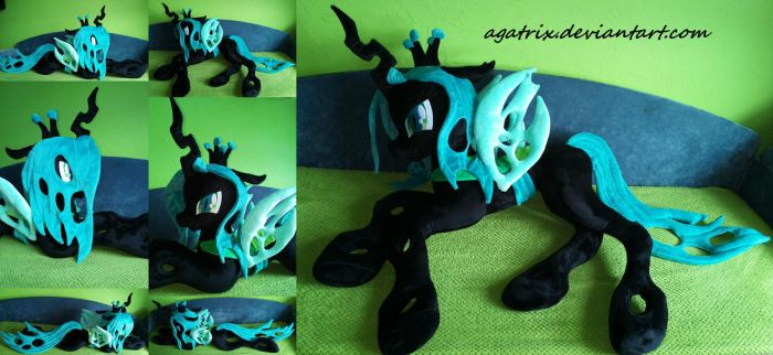 Life size (laying down) Queen Chrysalis plush by agatrix