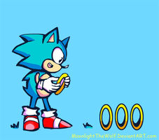 Sonic Collecting Rings by MoonlightTheWolf