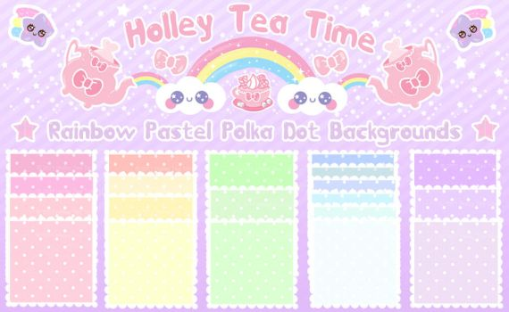 Kawaii Rainbow Polka Dot BG by miemie-chan3